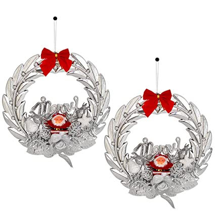 TIED RIBBONS Wall and Door Hanging Holy Wreath for Christmas Decoration | Christmas Tree Decorations Items | Christmas Decoration Items | Xmas Decoration(Set of 2, Silver)