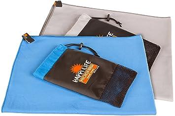 Toalla compacta de microfibra de secado rápido y peso ligero para viaje GRIS - con bolsa de ...