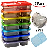 Youngever 7 Pack Color Meal Prep 3 Compartment Portion Lunch Box Food Container With Ice pack