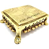 Two Moustaches Ethnic Indian Carving Design 7 inches Brass Chowki with Bells | Home Decor |