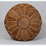 Handmade Morocco Moroccan Leather Pouf Ottoman - Tan Brown White Stitches - Hassock & Large Ottoman Footstool Cover Pouf - Un