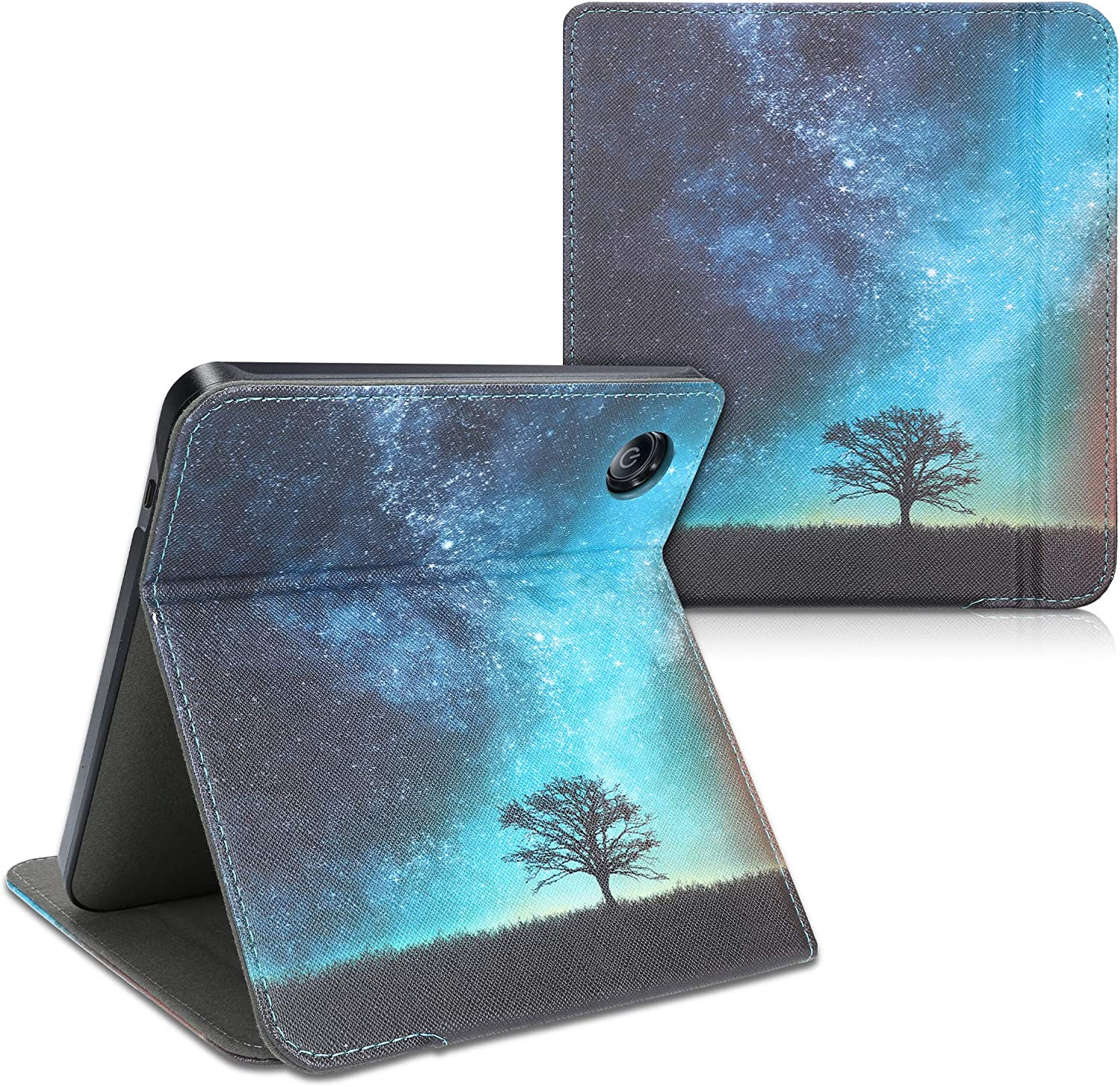 PU Leather e-Reader Case kwmobile Cover Compatible with Kobo Libra H2O Cosmic Nature Blue//Grey//Black