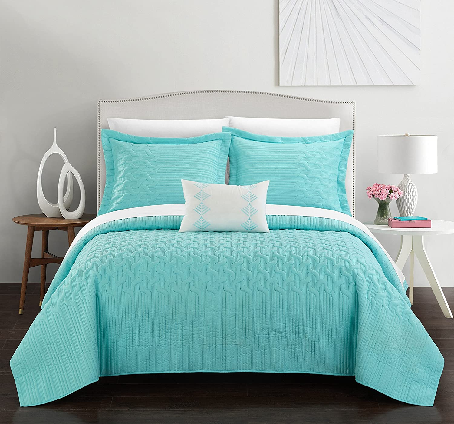 Chic Home Shalya 4 Piece Cover Set Interlaced Vine Pattern Quilted Bed in a Bag-Decorative Pillow Shams Included, Queen, Aqua