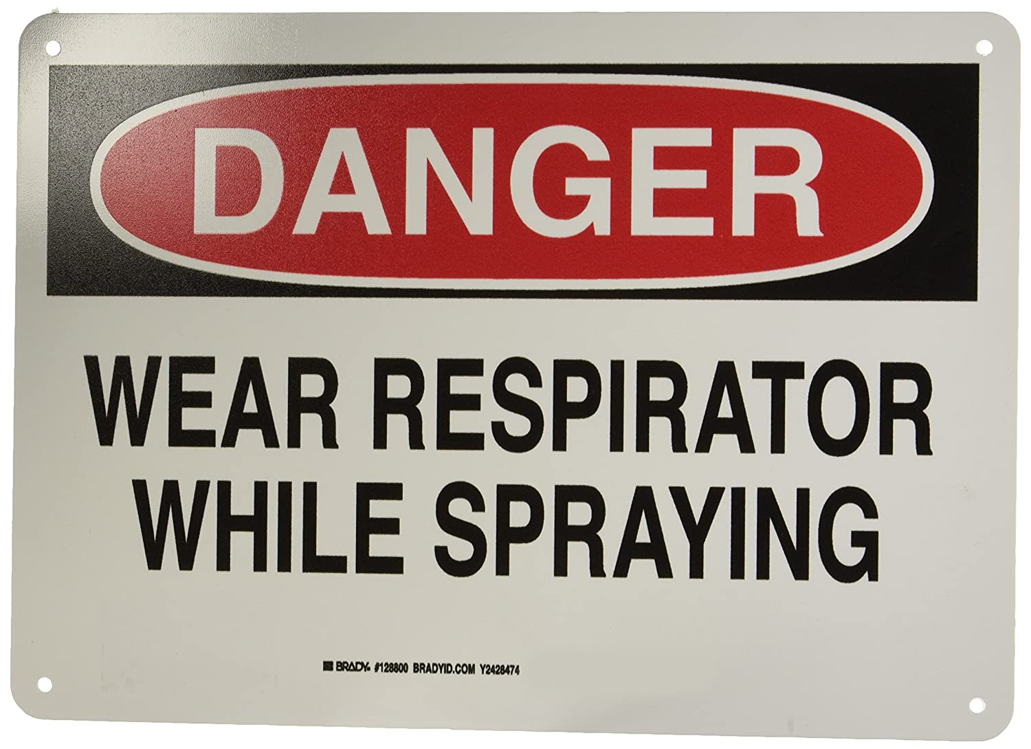 Black and Red on White Brady 128800 Personal Protection Sign 14 Weight LegendWear Respirator While Spraying 10 Height