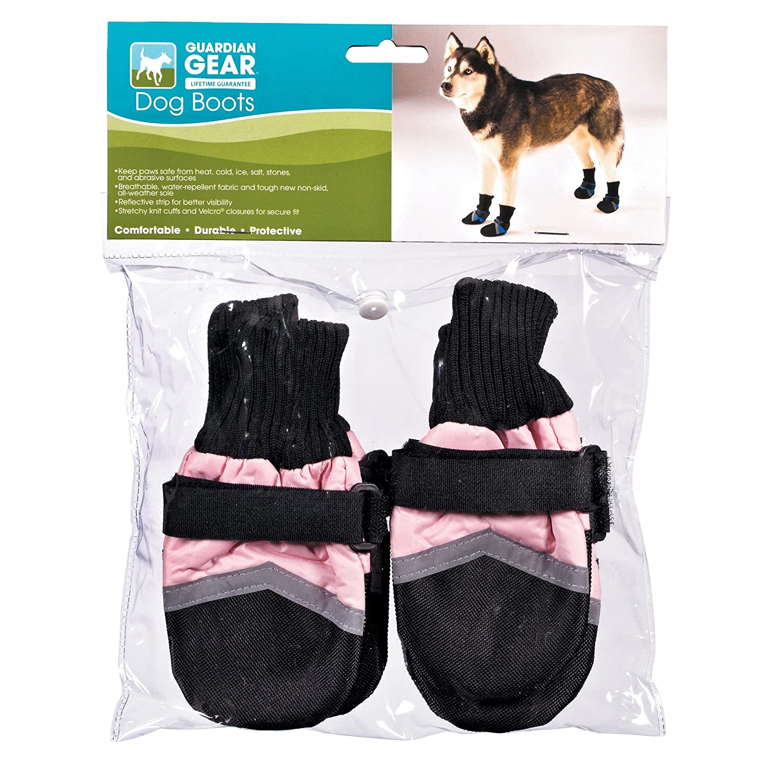 Large Guardian Gear Oxford Dog Boots, Large, 4-1 4-Inch, Pink