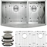 """Perfetto Kitchen and Bath 33"""" x 20"""" x 9"""" Apron Undermount 60/40 Double Bowl 18 Gauge Stainless Steel Kitchen Sink with Drain and Dish Grid"""
