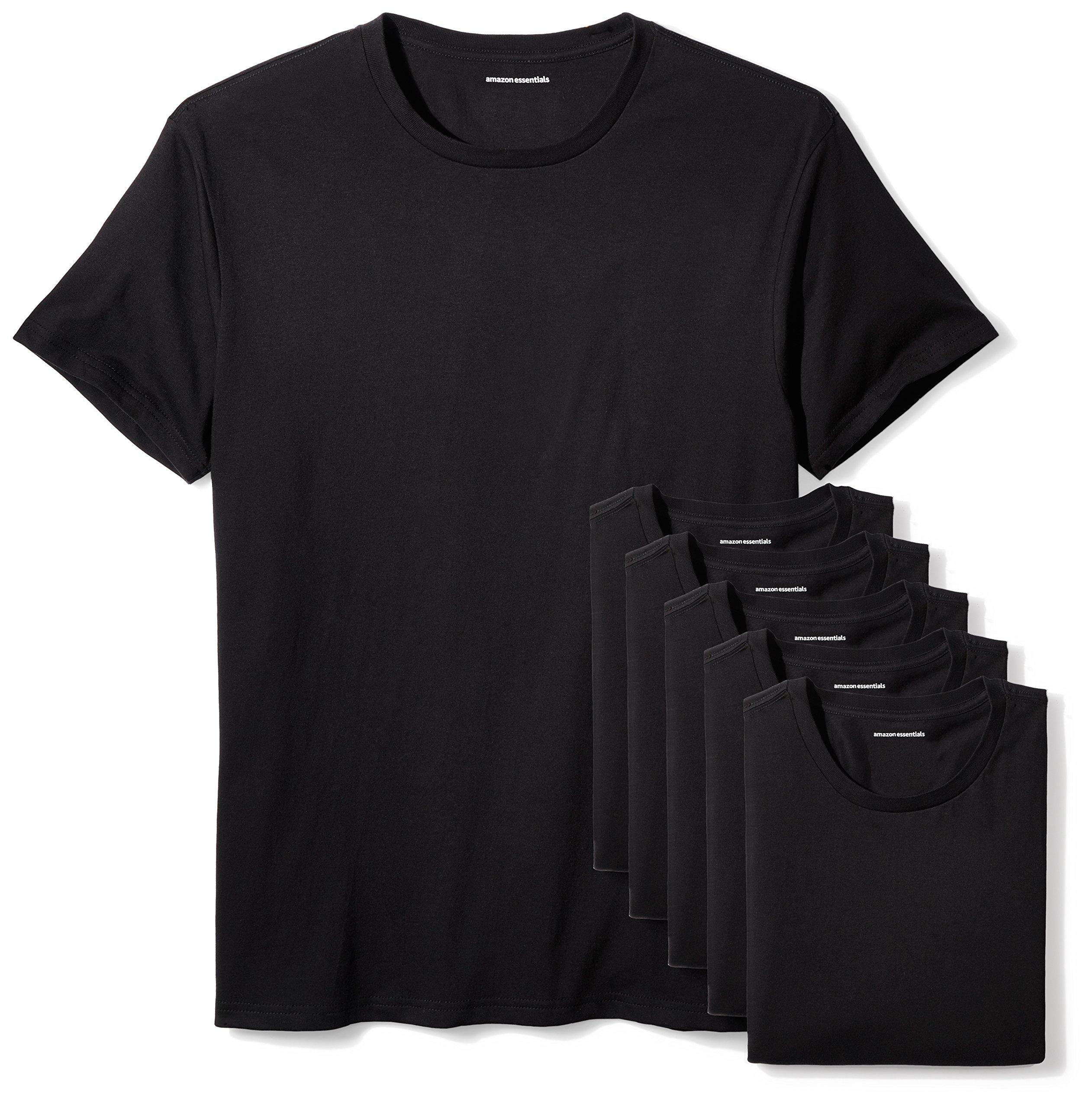 Amazon Essentials Men's 6-Pack Crewneck Undershirts, Black, XX-Large by Amazon Essentials