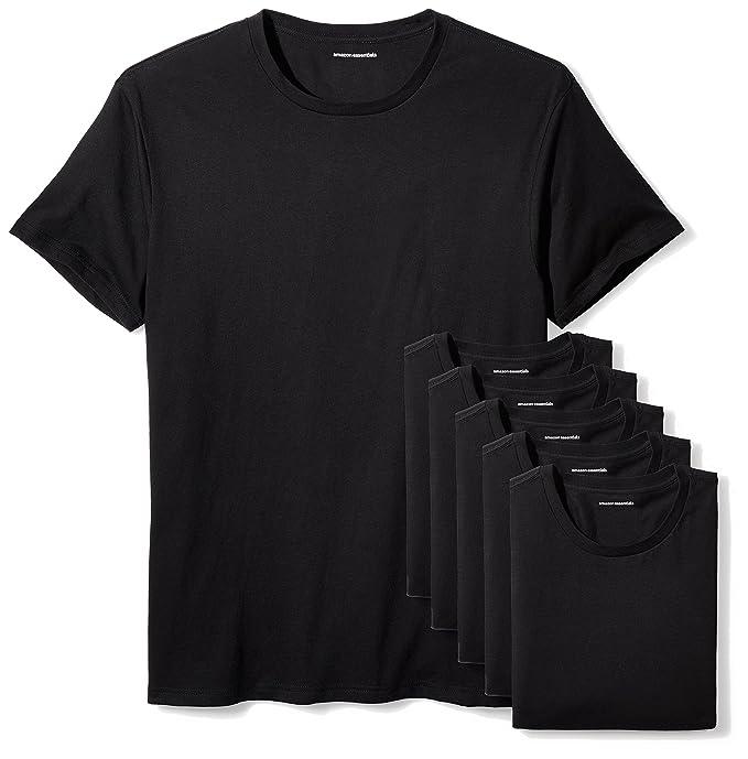 1bba4a91 Amazon Essentials Men's 6-Pack Crewneck Undershirts, Black, X-Small