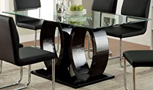 """Furniture of America Quezon Dining Table, 54"""" x 17.75"""" x 26.25"""", Black"""