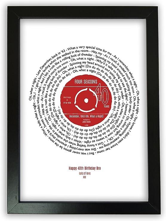 Personalised 40th Birthday Print of Song Lyrics in Vinyl Record#1 Day Born