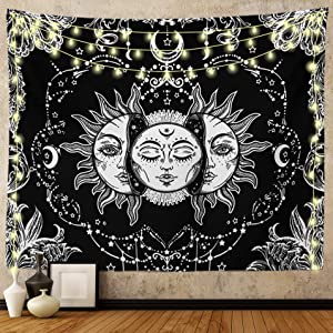 Ftuency Sun and Moon Tapestry, Black and White Tapestries Mystic Burning Sun with Star Wall Hanging decor for Bedroom (59
