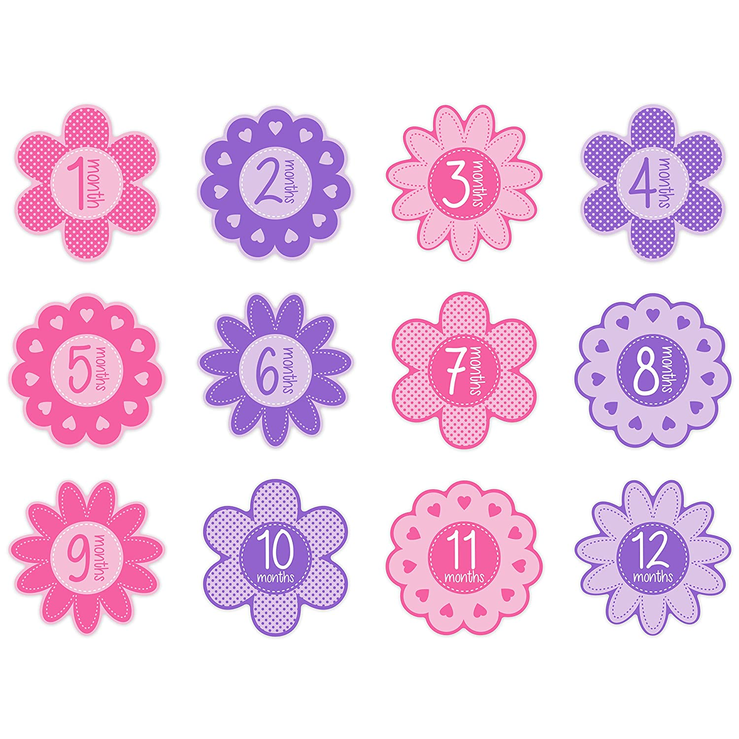 Tiny Ideas First Year Monthly Milestone Flowers Photo Sharing Baby Belly Stickers, 1-12 Months, Pink Pearhead 96190