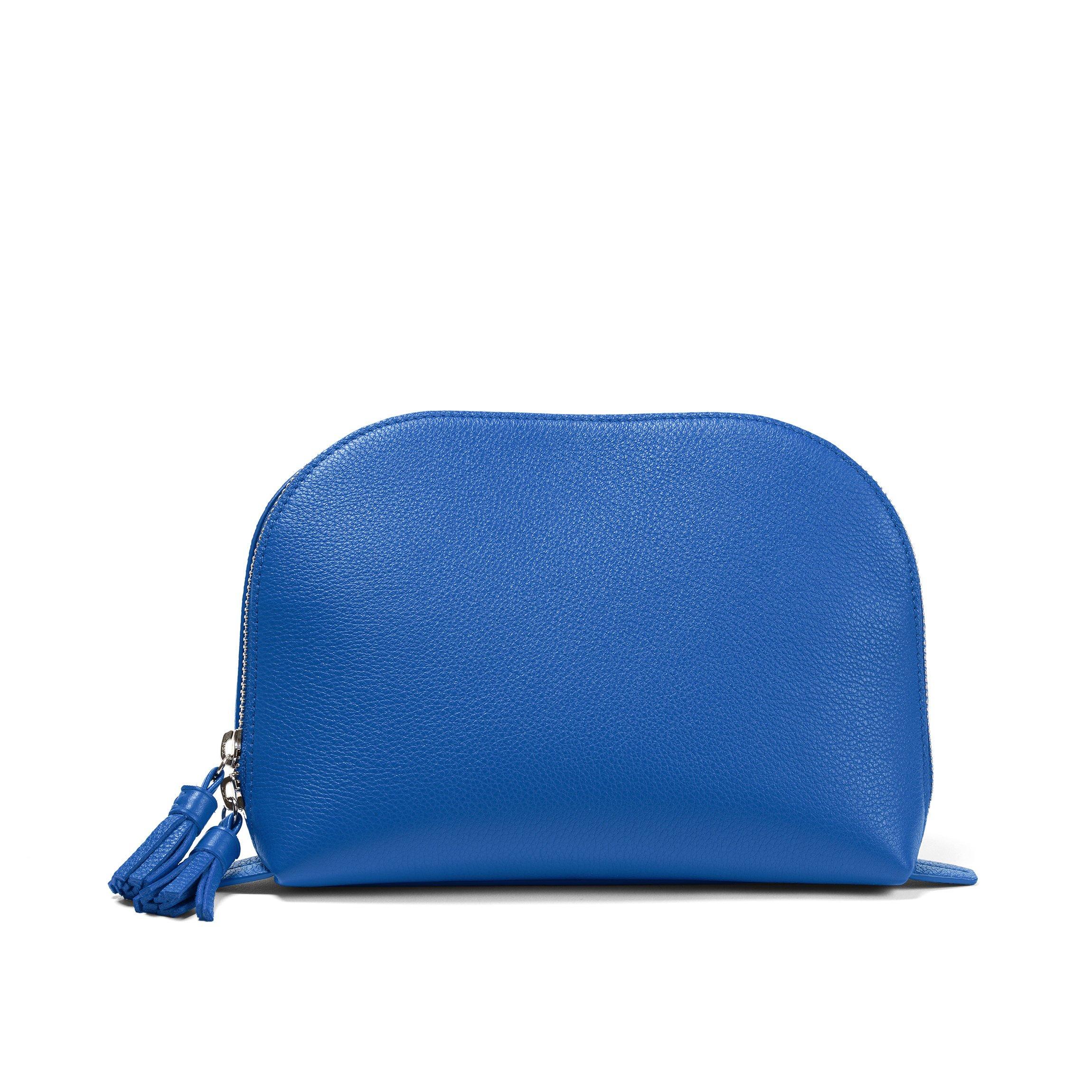 Large Clamshell Makeup Bag - Full Grain Leather Leather - Cobalt (blue)