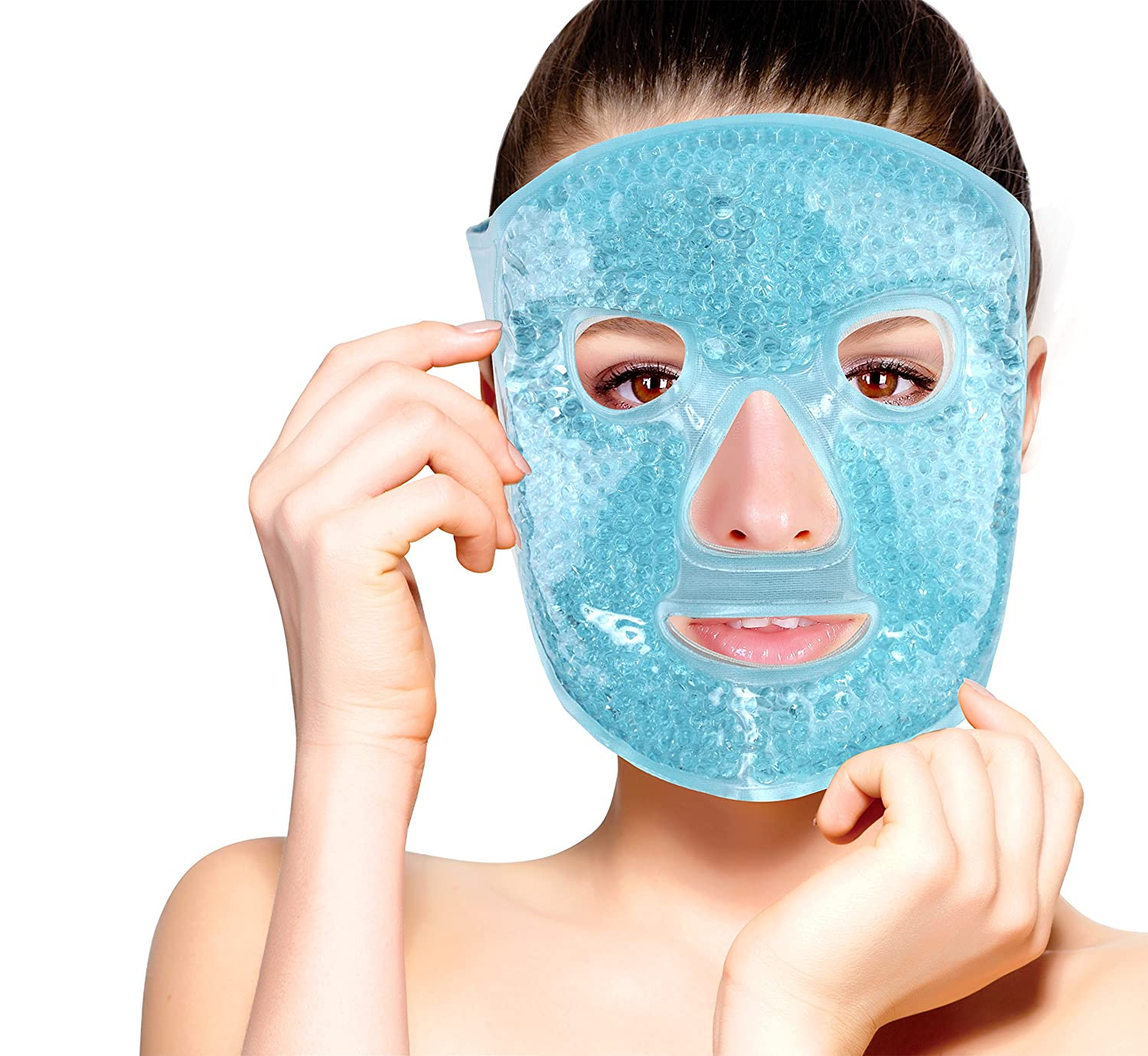 Hot and Cold Therapy Gel Bead Full Facial Mask by FOMI Care | Ice Face Mask for Migraine Headache, Stress Relief | Reduces Eye Puffiness, Dark Circles | Fabric Back (Full Face w/Eye Holes)
