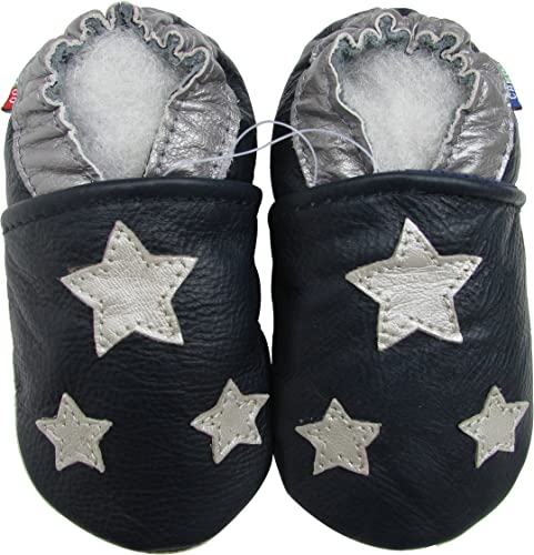 Carozoo Unisex Baby Colorful Stars Grey S Soft Sole Leather Shoes
