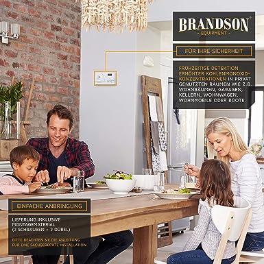 Brandson - Detector de CO | Alarma de monóxido de carbono | Alarma inmediata 85dB | Función de memoria +medición a largo plazo | Sensor Figaro | Pantalla ...