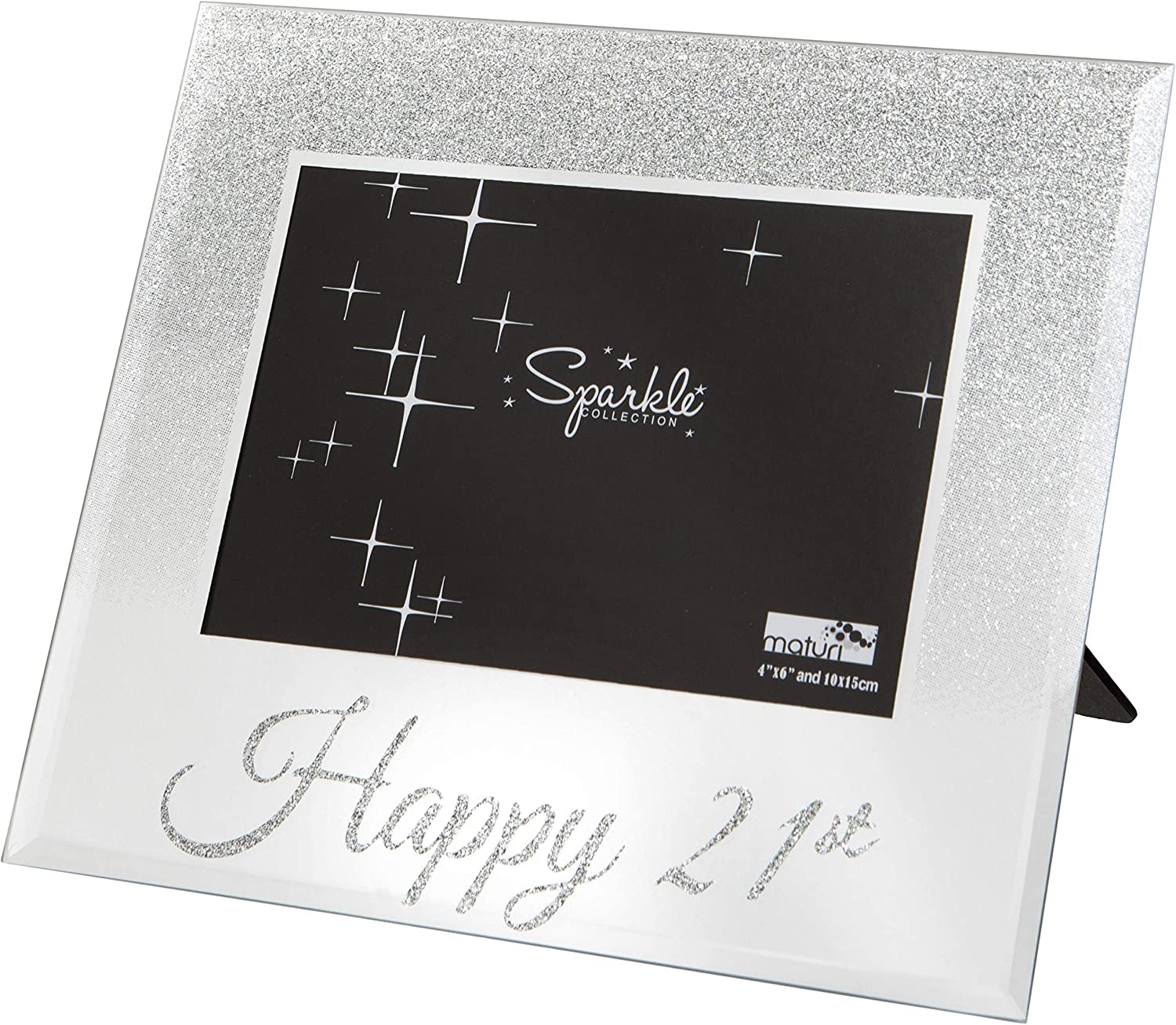 "An image of a photo frame with glittery borders and a ""Happy 21st"" word at the bottom."