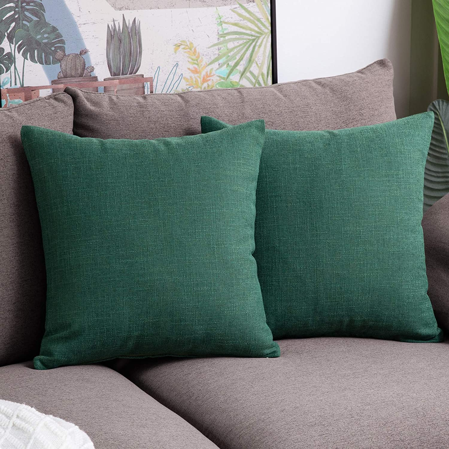 Anickal Christmas Green Pillow Covers 18x18 inch for Christmas Decor Set of 2 Farmhouse Rustic Xmas Decorative Throw Pillow Covers Square Cushion Case for Sofa Couch Home Decoration