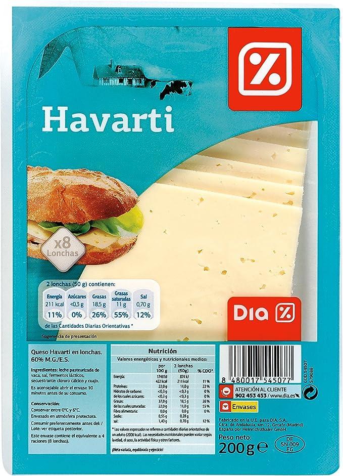 DIA - Queso Havarti Lonchas Sobre 200 Gr: Amazon.es: Alimentación y bebidas