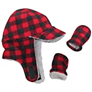 N'Ice Caps Little Boys and Baby Sherpa Lined Fleece Flap Hat Mitten Winter Set (Red Buffalo Plaid Infant, 3-6 Months)