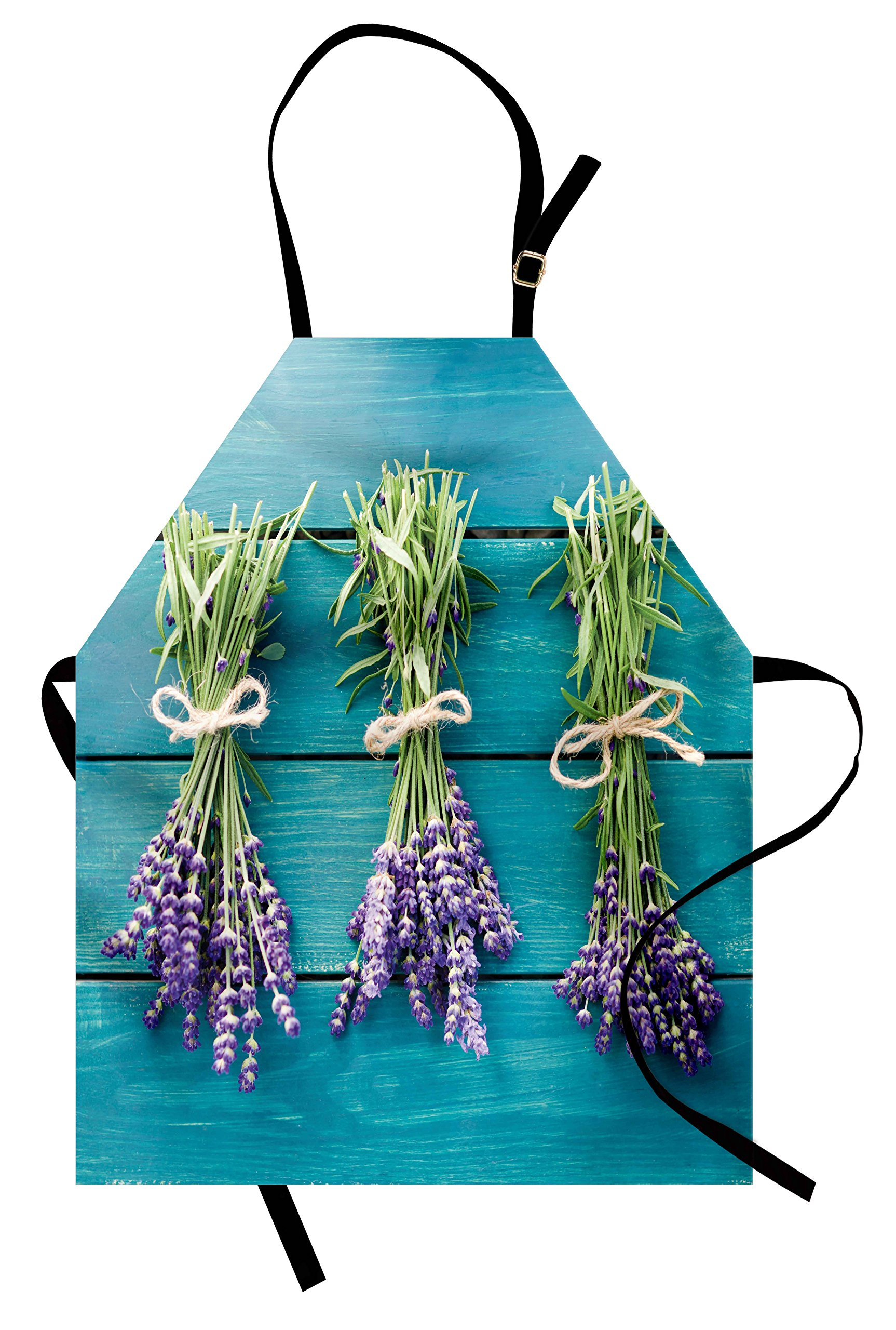 Lunarable Lavender Apron, Fresh Lavender Bouquets on Blue Wooden Planks Rustic Relaxing Spa, Unisex Kitchen Bib Apron with Adjustable Neck for Cooking Baking Gardening, Sky Blue Lavender Green