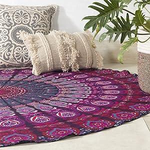 Popular Handicrafts Round tapestry Indian Mandala Beach Throw Tapestry Hippy Boho Gypsy Cotton Tablecloth Round Yoga picnic sheet 70