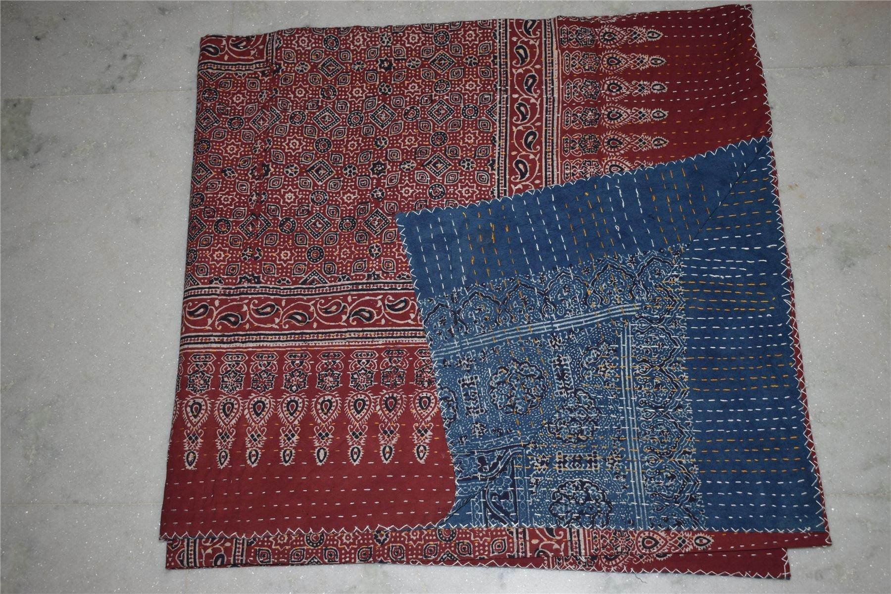 KING Kantha Quilt Textile block print handmade throw vegetable ajarak prints12