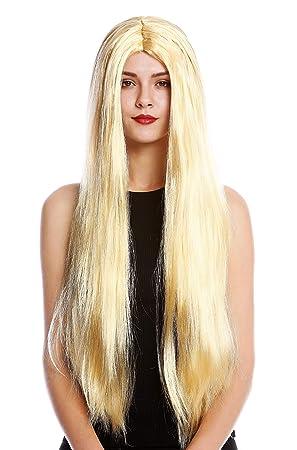 WIG ME UP ® - TH46-P03 Peluca Mujer Hombre para Carnaval Halloween Muy Largo Liso Raya en el Medio Rubio