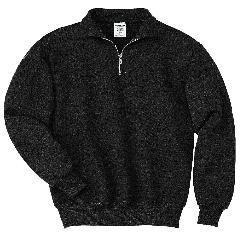 JERZEES スーパースウェットメンズ 1/4ファスナー スウェットシャツ カデット襟 B014W1IRUW Medium|ブラック ブラック Medium