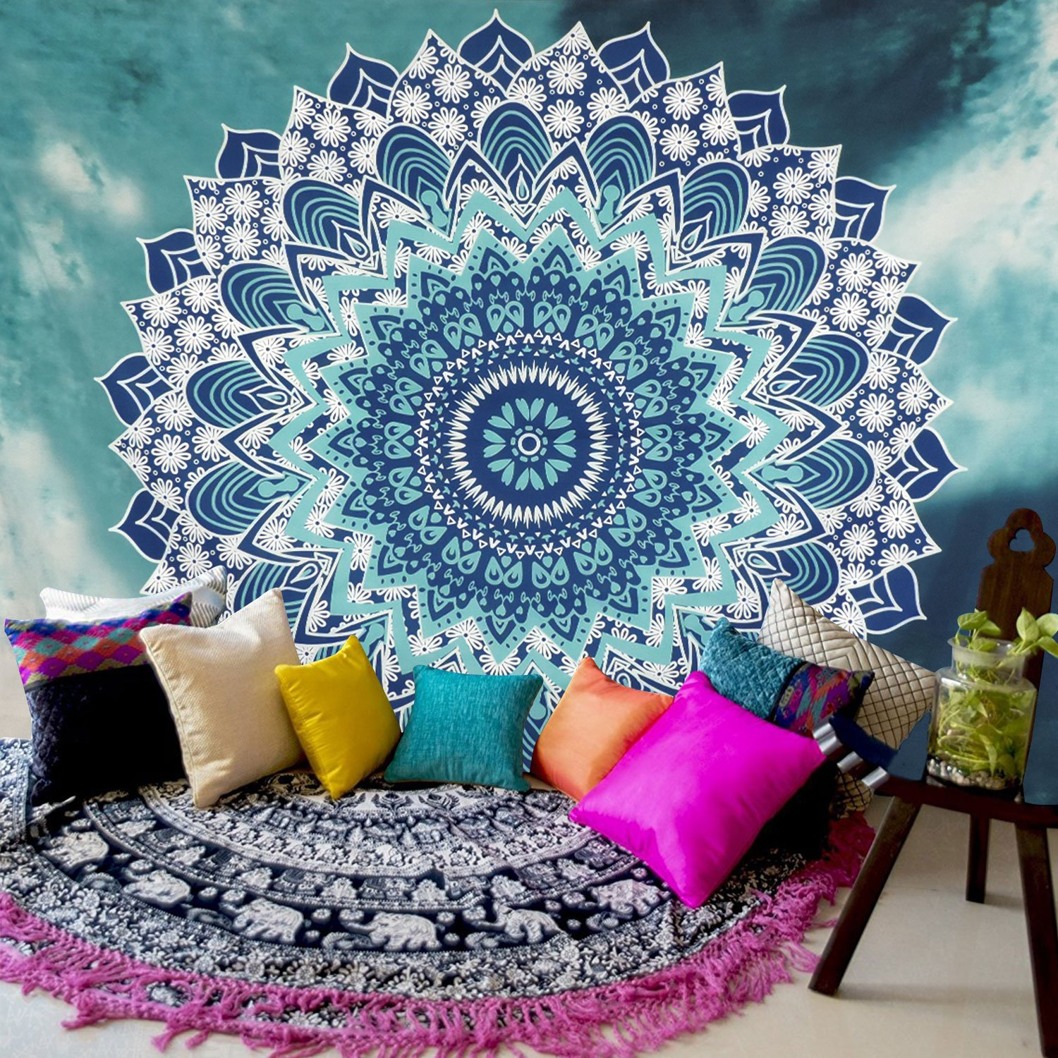 Amazoncom Sunm Boutique Tapestry Wall Hanging Indian Mandala Tapestry Bohemian