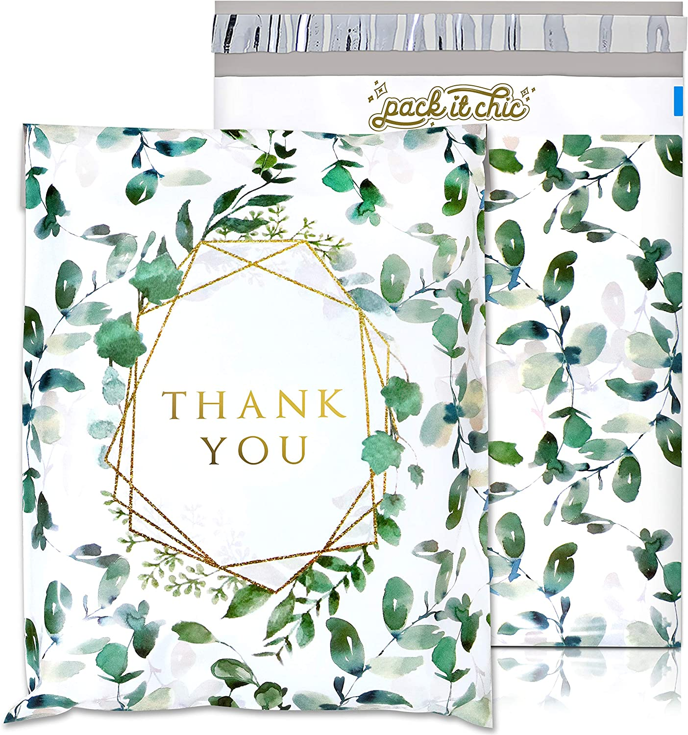 Pack It Chic - 10X13 (100 Pack) Geometric Leaves Pattern - Thank You Poly Mailer Envelope Plastic Custom Mailing & Shipping Bags - Self Seal (More Designs Available)