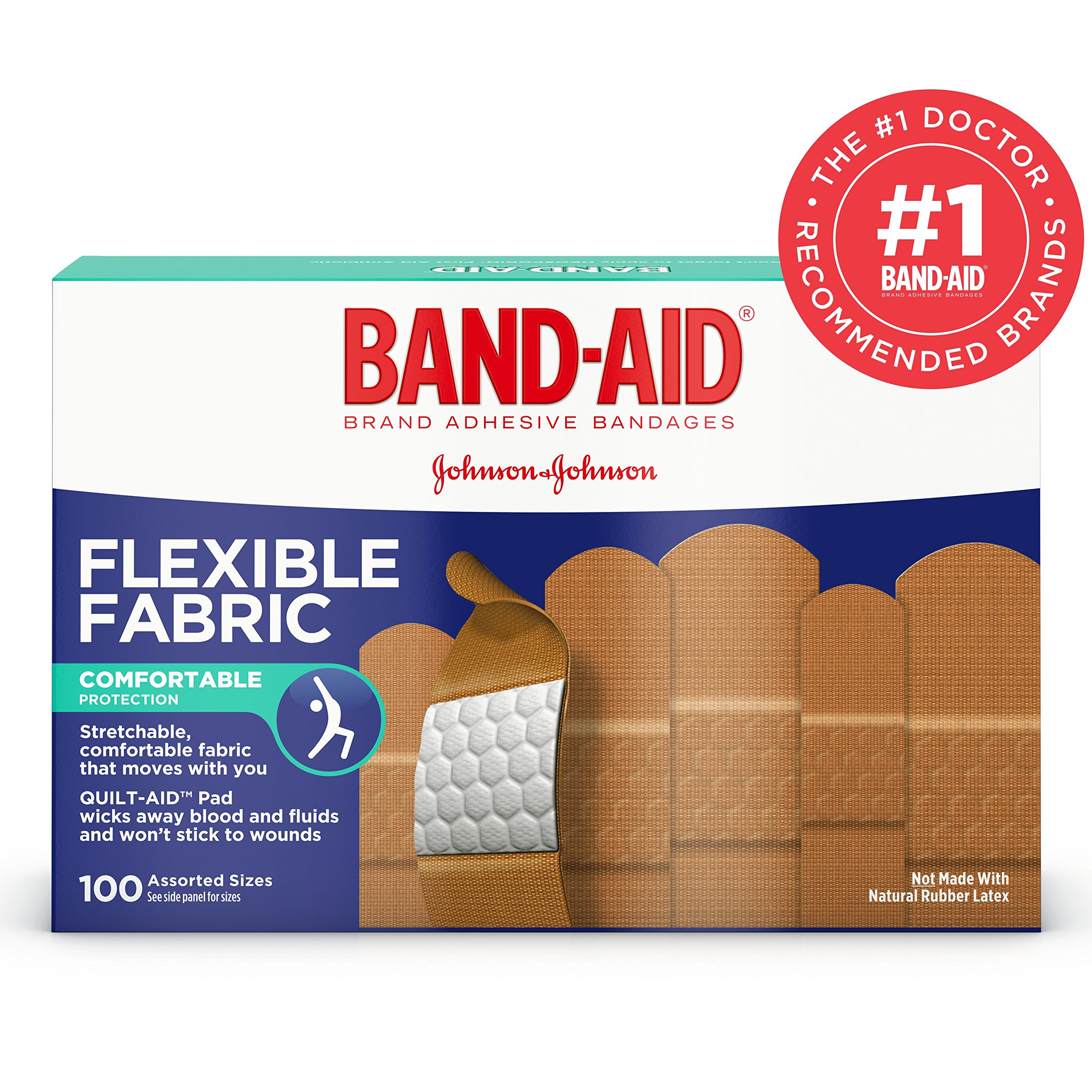 Band-Aid. Brand Flexible Fabric Adhesive Bandages, Assorted Sizes, 100 Count