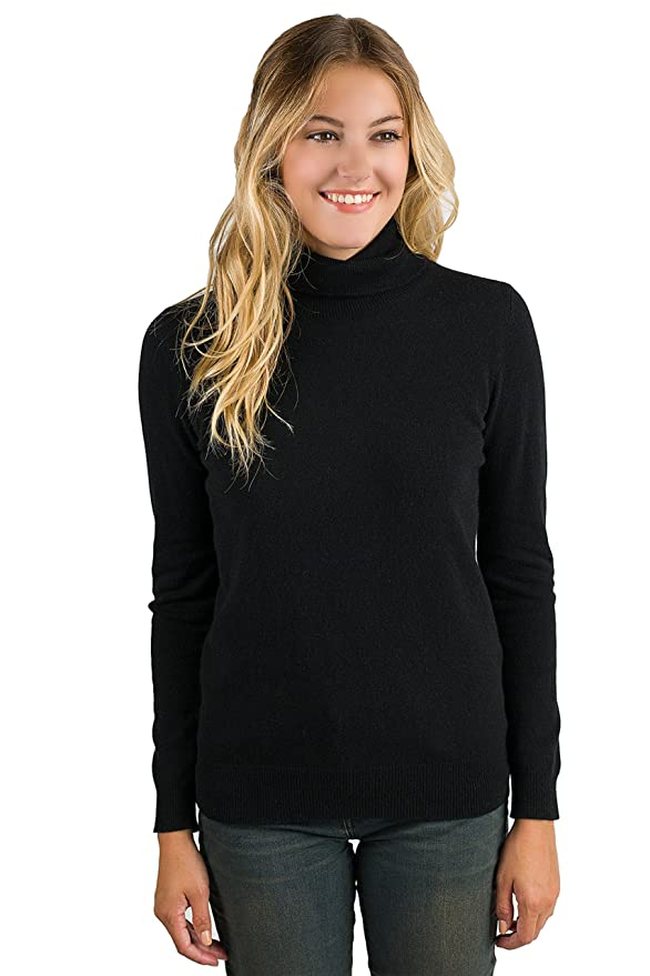 Women's 100% Pure Cashmere Long Sleeve Pullover - Black