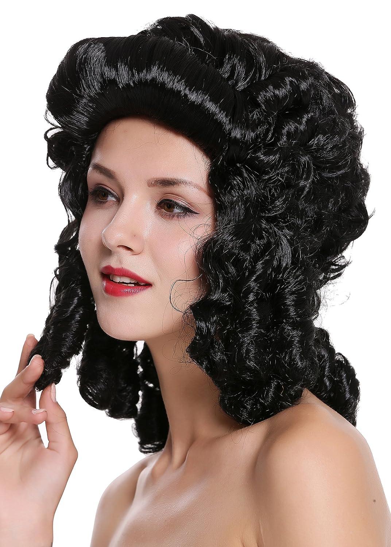 WIG ME UP ® - 91022-ZA103 Peluca Mujer Carnaval Barroco Renacimiento Negro rizos Reina María Antonieta Princesa: Amazon.es: Juguetes y juegos