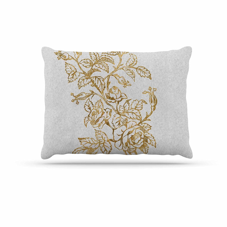 KESS InHouse 888 Design golden Vintage pink Floral Digital Dog Bed, 50  x 40