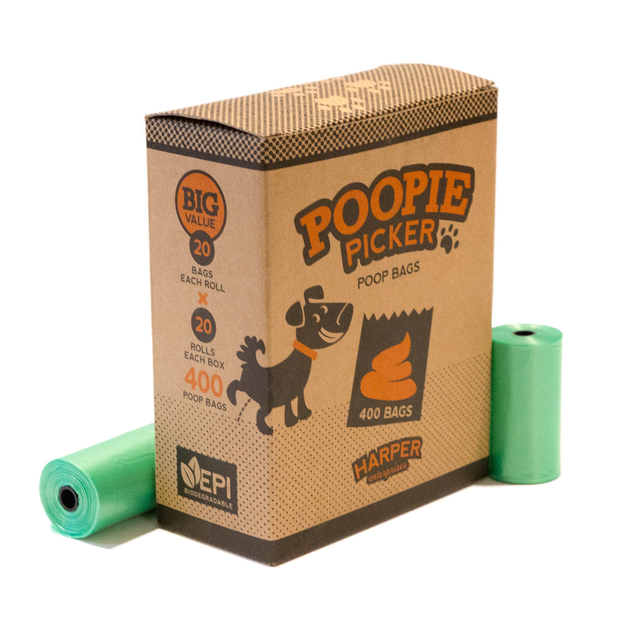 Poopie Picker, Dog Poop Bags, 20 Rolls/400 Count, Unscented Leak-Proof Pet Waste Bags