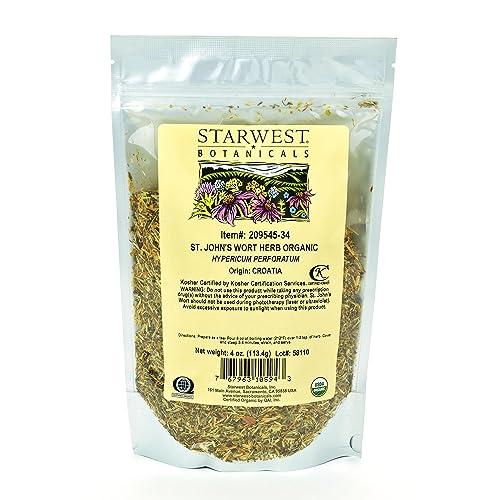 Starwest Botanicals Organic St. John s Wort Herb C S, 4 Ounces