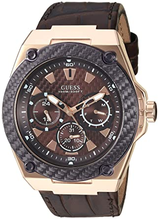 ff4a1a845 Amazon.com: GUESS Brown Genuine Leather Watch with Brown Dial, Day, Date +  24 Hour Military/Int'l Time. Color: Brown (Model: U1058G2): Watches