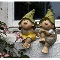Lilly y Len Elves sentados, ornamento del jardín