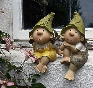 Lilly y Len Elves sentados, ornamento del jardín, gnomo, jardín de hadas, Troll, Imp: Amazon.es: Jardín