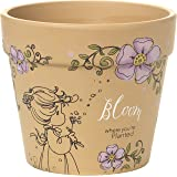 Garden Gifts by Precious Moments 171448 Bloom Where You're Planted 3.75-inch High Terra Cotta Pot Planter With 4-inch Diameter Yard Décor