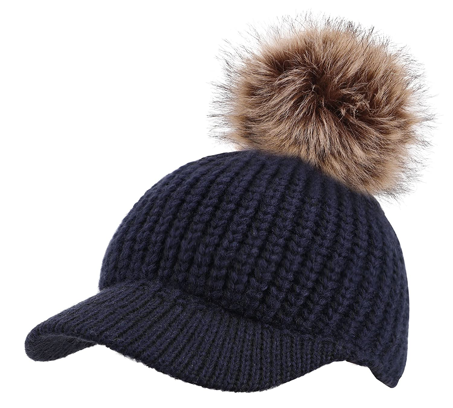 Arctic Paw Kids Cable Knit Beanie with Faux Fur Pompom and Brim Shade