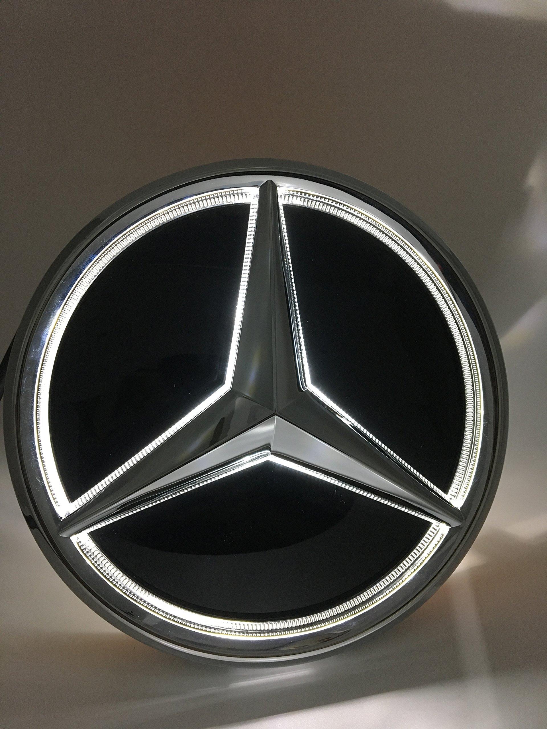 Cszlove Car Front Grilled Star Emblem LED Illuminated Logo for Mercedes Benz 2013-2015 A B C E S GLK ML Class Center Front Badge Lamp Light White-Mirror Surface