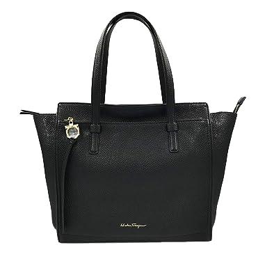 ebedc3e22b Amazon.com  Salvatore Ferragamo Amy Medium Leather Black Tote Ladies Bag  932W17238  Clothing