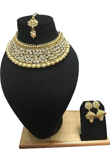 Indian Fashion Bridal Jewelry Wedding Gold Tone Necklace Earring Set Bridal & Wedding Party Jewelry