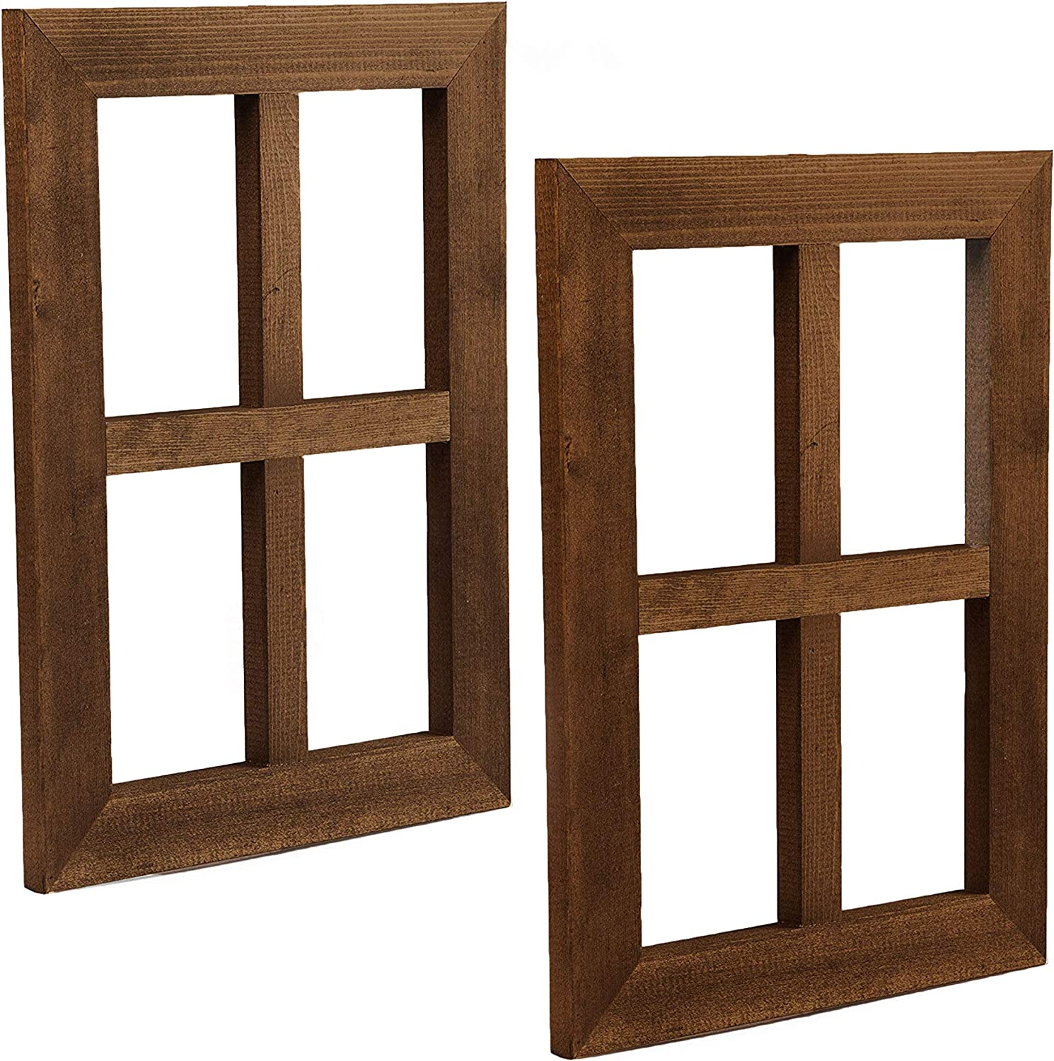 Ilyapa Window Frame Wall Decor 2 Pack - Rustic Espresso Wood Window Pane Country Farmhouse Decorations