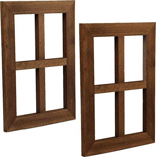 Amazon Com Ilyapa Window Frame Wall Decor 2 Pack Rustic Espresso Wood Window Pane Country Farmhouse Decorations Home Kitchen