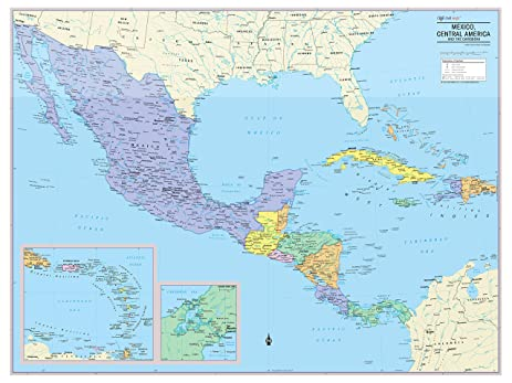 cool owl maps mexico central america and caribbean wall map rolled paper