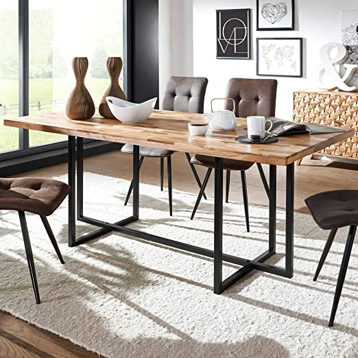 KS-Furniture WL5.591 - Mesa de Comedor (Madera Maciza y Metal, 180 ...