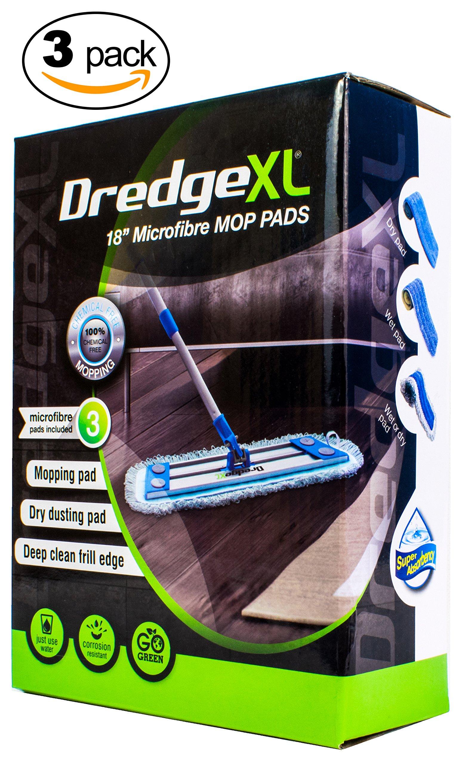 Temples Pride Professional 18'' DREDGE XL Microfiber flat mop replacement pads | Suits hardwood Tile Laminate Linoleum & Vinyl floor - 3 Pack